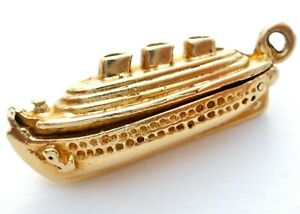 Vintage 14K Yellow Gold Ship Charm Pendant Articulated Bon Voyage Cruise Opens