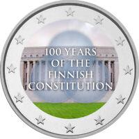 2 Euro Gedenkmünze mit Finnland 2019 Verfassung coloriert mit Farbe / Farbmünze