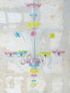 Antique Venitian Murano Chandelier Hand Blown Multicolor 1940 Italian Ceiling