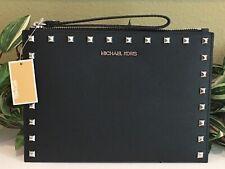 MICHAEL KORS JET SET TRAVEL XL ZIP CLUTCH WRISTLET BAG BLACK LEATHER SILVER $198