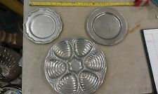 """5HH04 SET OF 3 PEWTER BON CHEF DISHES: 10-1/4"""" SERVER (2#3), 7-1/2"""" PLATE"""