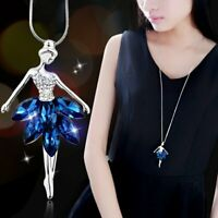 Fashion Crystal Dance Girl Pendant Necklace Long Sweater Chain Women Jewelry Hot