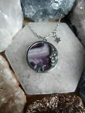 Amethyst in the moon and stars  necklace crystal healing spiritual support