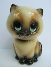 RARE Norcrest Siamese Cat Coin Bank BK778 Ceramic Piggy Japan Labels MCM Vintage