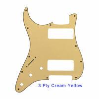2P-90 Stratocaster PICKGUARD For Left Handed Fender Strat 2 P90, Cream Yellow