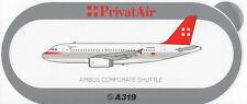 ~ PrivatAir ~ Airbus A319 Sticker / Decal ~ RARE ~