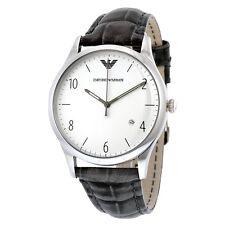 Emporio Armani Classic Silver Tone Silver Dial Black Leather Men's Watch AR1880