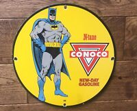 "Vintage Conoco Gasoline N-tane Batman Heavy Porcelain Sign 12"" Gas & Oil"