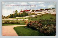 Mackinac Island, Old Fort, Marquette Place Park, Vintage Michigan c1910 Postcard