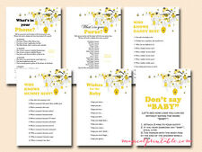 Print Yourself Gender Reveal Bee Theme Baby Shower Games TLC05