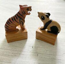 Vintage Panda & Tiger Pencil Sharpeners. Carved Wood Figurines.