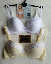NEW M&S 2 PACK UNDERWIRED COTTON RICH BALCONY BRAS 30C - PALE YELLOW/WHITE
