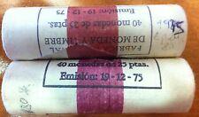 ESPAÑA: cartucho 25 pesetas 1975 *80* año acuñación 1980 contiene 40 monedas