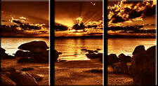 LARGE 3 PANEL TRIPTYCH BRONZE SUNSET BEACH CANVAS ART