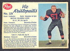 1962 POST CFL FOOTBALL 128 Vic Kristopaitis B C LIONS UNIV OF DAYTON