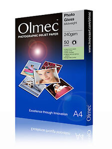 2 x Olmec 240gsm Photo Glossy Inkjet Paper A4/50 Sheets OLM63A4 - 100 A4 Sheets