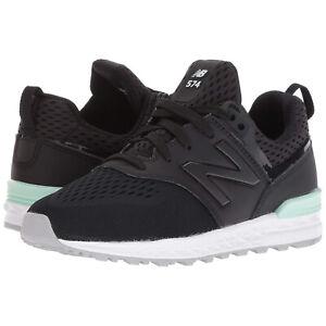 New Balance 574 Sport Kids Sneaker Shoes Black Seafoam GS574MB