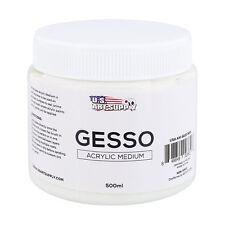 U.S. Art Supply White Gesso Acrylic Medium, 500ml Tub