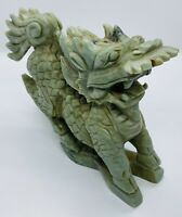 Antique Chinese Hand Carved Stone Qilin Figurine Sculpture