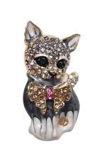 roundel multi rhinestone crystal Brooch Cat Motif with bow