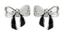 CLIP ON EARRINGS - silver bow with clear stones and black enamel - Malina