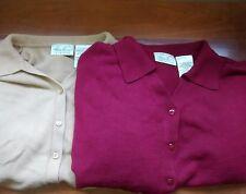 LOT of 2 Kathie Lee | Women's XL Acrylic Button L/S Sweater Sweat Shirts V Neck