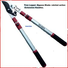 TREE LOPPER -BYPASS BLADE- RATCHET ACTION - ALUMINIUM EXTENSION HANDLES -NEW