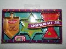 Hanukkah Cookie Cutters Metal Menorah Dreidel Star of David Kosher Cook Set/3