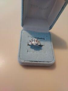 QVC Epiphany Diamonique  3 Stone  Ring Size 6