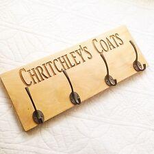 Personalised Engraved solid oak coat hanger rack