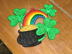 Embroidered Ornament  - St. Patrick's Day - Pot of Gold W/Rainbow