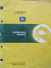 John Deere Operator's Manual for 7 Backhoe