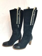 UGG Australia Tess Platform Black Suede Shearling Heels Tall Boots #5504 Sz 7 M
