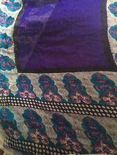 Vintage Sari de seda Sarong tela artesanía étnica India frontera Impreso Morado