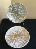 "SET OF 4 Crate and Barrel 8"" Luncheon Salad Plates; Gold & Platinum/Silver Lines"