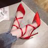Wedding Women Satin Cross Strappy High Heels Pointed Toe Pump Stiletto Shoe Prom