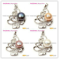 10-11mm White Gold Plated freshwater Pearl  Beads Plated  Jewelry Pendant SD