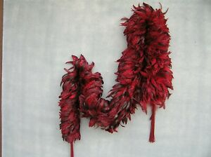 Red Feather Boa - 8 feet long with red beaded tassels at each end.