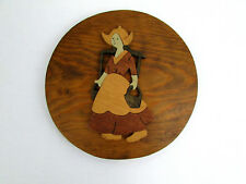"""Vtg '76 Handmade Signed Wood Cutout Dutch Woman Carrying Hauling Water 8"""" Plaque"""