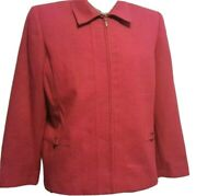 Alfred Dunner Jacket Size 12 P Petite   Lined Zip Front Blazer COLOR Red
