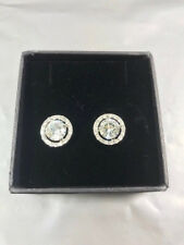 White Silver Plate Pave Crystal Diamonte Round Halo Stud Earrings BNIB (AL)