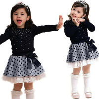 Kids Baby Girl Long Sleeve T-Shirt Tops+Tutu Skirt Dress Princess Clothes Outfit