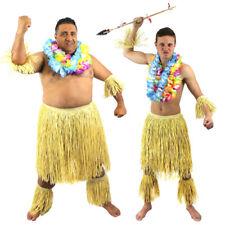 MEN'S ZULU WARRIOR 5 PC SET HAWAIIAN TRIBE FANCY DRESS AFRICAN TRIBAL JUNGLE