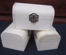 3 X  PLAIN MINIATURE WOODEN TREASURE CHEST TRINKET BOXES GIFT PARTY FAVOR