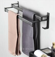 Punch Free Towel Ring Towel Double Bar Rack Bathroom Hardware Accessories Black