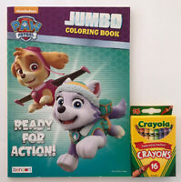 New 2 Pc Nickelodeon Paw Patrol Jumbo Coloring & Activity Book and 16 Crayons