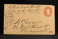 Iowa: Centerville 1858 3c Entire Cover, Deliver Immediately Life and Death