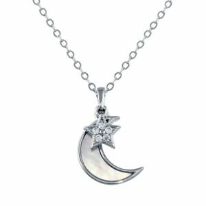 STAR & MOTHER OF PEARL MOON NECKLACE PENDANT W/ LAB DIAMONDS  /STERLING SILVER