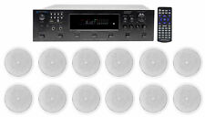 """(12) Jbl 6.5"""" 150w In-Ceiling Speakers+(6) Zone Home Theater Bluetooth Receiver"""