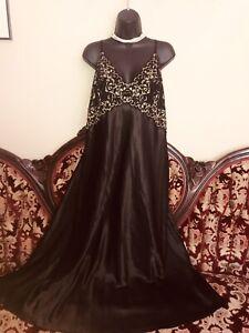 GORGEOUS Black SILKY w/Lace SZ 2XLG Glam  MINT NIGHTGOWN SISSY